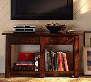 Benchwright Media Stand love the idea of hanging the tv over a console table