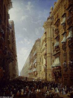 Fronleichnam En Turin de Carlo Bossoli (1815-1884, Switzerland)