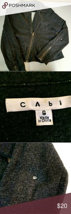 CAbi womens jacket CAbi women's jacket size small. Used good condition. Does have a small whole in the elbow area as shown on the photo. Nice ziper detail on the sleeve. Make an offer. CAbi Jackets & Coats Blazers