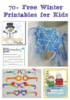 Free Winter Printable s for Kids.Posted by Jacquie Fisher Tons of AWESOME printable crafts and activities with a winter theme -- great ways to keep kids reading & thinking over winter break! Winter Activities For Kids, Printable Activities For Kids, Printable Crafts, Preschool Activities, Crafts For Kids, Snow Activities, Preschool Winter, Toddler Crafts, Free Printables