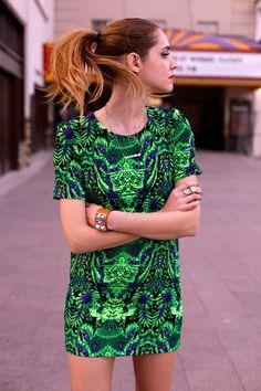 spring dress look woman fashion green