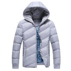 Fashion pure colors winter filling men coat Hooded collar slim fit zipper quilted winter coat for man 3 colors
