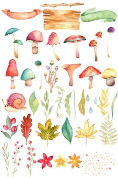 mushroom clipart fall clipart woodland clipart fall Earning money has always been associated with traditional ways in the actual world. Watercolor Animals, Watercolor Flowers, Watercolor Paintings, Simple Watercolor, Tattoo Watercolor, Watercolor Techniques, Watercolor Background, Watercolor Landscape, Abstract Watercolor
