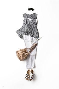 スポーティでラフで女らしい!2015-07-23 | grey top price :14,040 brand : ALIQUAM Grey Fashion, Minimal Fashion, Daily Fashion, Womens Fashion, Classy Outfits, Chic Outfits, Summer Outfits, Fashion Outfits, Preppy Style