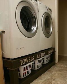 Sokkel under vaskemaskin med kurver til skittentøyet