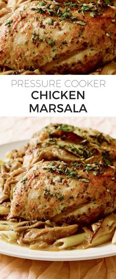 Pressure Cooker Chicken Marsala Recipe // So tender, juicy and delicious—we love our served over a bed of pasta, whatever kind we have in the pantry. Pressure Cooker Chicken Marsala Recipe, Pressure Cooker Bbq Chicken, Slow Cooker Pressure Cooker, Using A Pressure Cooker, Instant Pot Pressure Cooker, Pressure Pot, Chicken Cooker, Power Pressure Cooker Xl Recipe, Pressure King