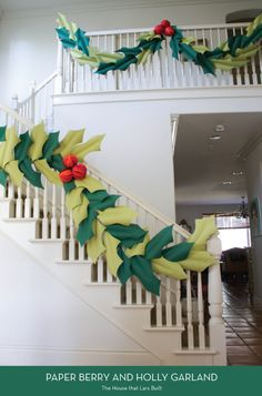 20 Holiday DIYs - Paper Berry and Holly Garland (The House That Lars Built) | Design Crush
