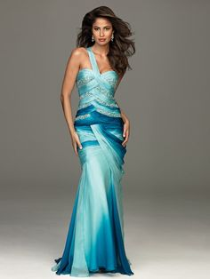 Mermaid Chiffon One-Shoulder Sweetheart Neckline Sleeveless Floor-Length Evening Dress