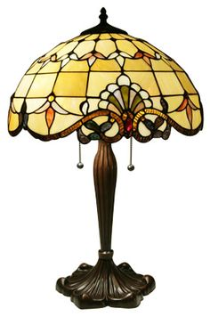 "A more neutral version of our best selling 16"" diameter Tiffany table lamp. This unique lamp is brought to life with over 372 pieces of stained glass and 51 individually set Cabochons."