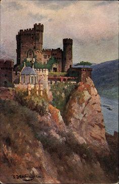 Burg Rheinstein bij Trechtingshausen kunstkaart