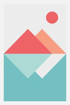 Geometric Landscape - Modern Wall Art, Geometric Abstract Print, Nordic Design Scandinavian Poster Modern Wall Decor 24 x 36 20 x 30 18 x 27 Easy Canvas Art, Cute Canvas Paintings, Small Canvas Art, Geometric Poster, Geometric Art, Scandinavian Poster, Nordic Design, Nordic Art, Graphic Patterns