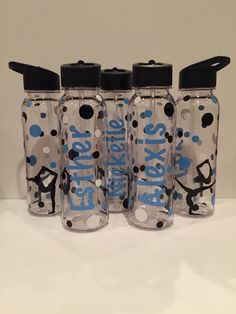 Personalized Gymnastics Water Bottles - Great Team gifts by AtoZVinylCreations on Etsy https://www.etsy.com/listing/124361187/personalized-gymnastics-water-bottles