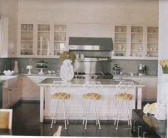 Aqua white yellow kitchen