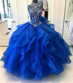 Royal Blue Quinceanera Dresses 2018 Modest Masquerade Ball Dresses Beads Sweet 16 Princess Pageant Dress For Girls Birthday Wear Cheap Pretty Quinceanera Dresses, Royal Blue Prom Dresses, Girls Pageant Dresses, Quince Dresses, Pretty Dresses, Beautiful Dresses, Sweet 16 Dresses Blue, Quinceanera Ideas, Quincenera Dresses Blue