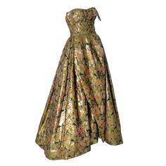 9940e4c3a67 Michael Novarese 1960s Vintage Gold Metallic Audrey Hepburn Evening gown  Dress