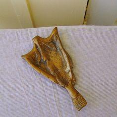 Antique Tray Fish Shaped Brass Souvenir w by SilverFoxAntiques, $60.00