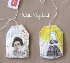 Pair of painted and collaged tea bags