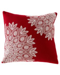 Red & White Lace Pillow - Sheri Soistman - - Red & White Lace Pillow Red & White Lace Pillow – a great way to use old doilies – they resemble snow flakes….how pretty! Crochet Cushions, Sewing Pillows, Crochet Pillow, Crochet Doilies, Crochet Lace, Doilies Crafts, Fabric Crafts, Sewing Crafts, Sewing Projects