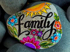 """Family Rock Blessings~""""Hattie's Vintage Crafts""""~~~family / painted rocks / painted stones / we are family / family stone / adoption / kindred / tribe / art rocks / sisters / sacred by LoveFromCapeCod on Etsy Pebble Painting, Pebble Art, Stone Painting, Painting Art, Painting Stencils, Mandala Painting, Paintings, Stone Crafts, Rock Crafts"""