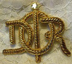 Online veilinghuis Catawiki: Vintage 1980 vergulde Christian Dior Monogram broche - kristal