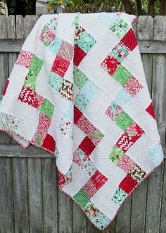 Free shortcut quilt pattern from the Fat Quarter Shop.  It's made for Jolly Bars, but you can easily use a layer cake too!