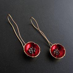 Poppy earrings, red enamel earrings, solid sterling silver 24K gold plated  flower earrings, dangle hypoallergenic earrings, enamel jewelry