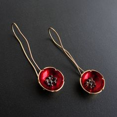 Enamel earrings flower earrings sterling silver от emmanuelaGR