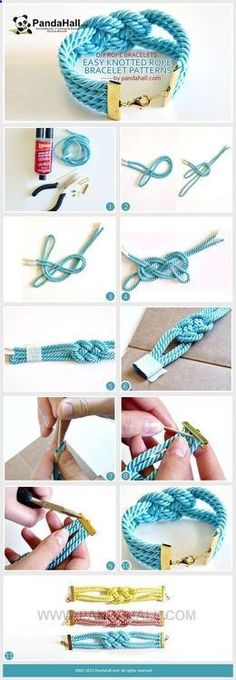Do you want to make your own super easy, simple and knotted rope bracelet patterns? Its not as hard as you would think! We present to you a detailed DIY rope bracelet project that includes clear illustrations and an elaborate explanation. Bracelet Tutorial, Diy Bracelet, Rope Bracelets, Making Bracelets, Knotted Bracelet, Bracelet Charms, Homemade Jewelry, Bijoux Diy, Jewelry Making Tutorials