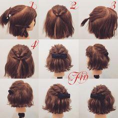1,837 個讚,15 則留言 - Instagram 上的 (香川県/美容師)西川 ヒロキ《ヘアアレンジ・カラー》(@hiroki.hair):「 フォロワーさんリクエスト✨ ショートボブのハーフアップアレンジ★ 1,トップを写真のように取ります 2,くるりんぱします… 」