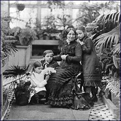 Lucy Hayes, her children, and a friend in the greenhouse, 1877. Rutherford B. Hayes Presidential Center