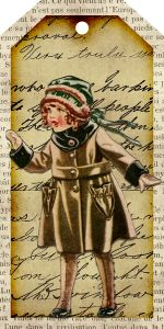 Free printable tag from callmevictorian.com vintage little girl christmas tag