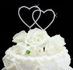 Double Heart Silver Wedding Cake Topper - perfect for your Valentine's Day or Heart theme wedding!