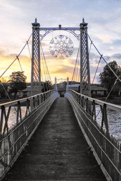 Infirmary Bridge, Inverness, Scotland.  The bridge was built at the Rose Street Foundry in 1881 and is a foot bridge.