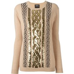 Markus Lupfer sequined cable jumper (41.910 RUB) ❤ liked on Polyvore featuring tops, sweaters, beige, chunky cable knit sweater, cable knit jumper, beige top, markus lupfer sweater and wool sweaters