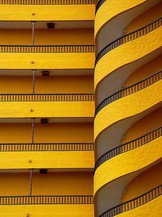 Swirling yellow balcony in Playa del Ingles, Canary Islands; Arild Storaas
