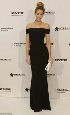 Flawless! Jennifer Hawkins stunned in black at the Myer Precious Ball in Melbourne on Friday