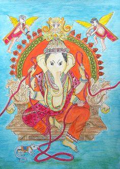 "Der rote Faden. ""Ganesha"" A3 . Mix media 2015"