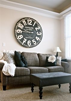 The Yellow Cape Cod: Awesome home decor ideas. Love the big clock and coffee table