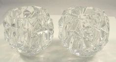"""Authentic Tiffany Co Crystal Candle Holders Pair Rock Cut Estates   eBay   Many of the Tiffany """"Rock Cut""""  pieces bear a Peill and Putzler mark."""