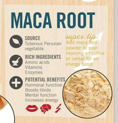 Maca root It's believed that this root has more phytonutrients than nearly every type of fruit and vegetable, including magnesium and iron – nutrients for controlling anxiety. It also is often used for healthy stamina and energy. Get Healthy, Healthy Tips, Health And Nutrition, Health And Wellness, Mental Health, Healing Herbs, Holistic Healing, Food Facts, Healthy Options