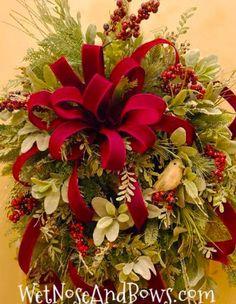 Christmas Wreaths Portfolio - Professional Wreath Designs Christmas Wreaths For Front Door, Christmas Swags, Christmas Ribbon, Holiday Wreaths, Christmas Crafts, Winter Wreaths, Christmas Table Centerpieces, Christmas Decorations, Holiday Decorating