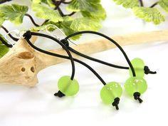 Green Earrings for Women, Leather Earrings, Long Dangle Earrings, Silver Earrings, Handcrafted Jewelry, Boho Earrings, Gift for Her