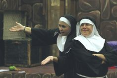 "Rebecca Masucci, left, and Jill Curry perform as Sister Mary Regina, Mother Superior and Sister Mary Hubert during a rehearsal for ""Nunsense"" at the ACTORS studio. The musical will kick off the latest season of ACTORS productions in Ames. Photo by Julie Ferrell/Ames Tribune   http://amestrib.com/entertainment/actors-season-kicks-nunsense"