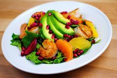 Shrimp, triple orange avocado salad...I don't like avocado but the rest of this sounds amazing :)