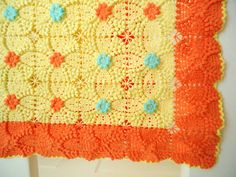Vintage popcorn square  pattern - unusual colours that really work well..