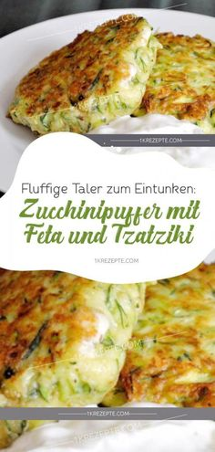 Fluffy speaker to dunk: zucchini buffer with feta and tzatziki - recipes - Esse . - Fluffy speaker to dunk: zucchini buffer with feta and tzatziki – recipes – Essen und Trinken - Veggie Recipes, Low Carb Recipes, Vegetarian Recipes, Cooking Recipes, Healthy Recipes, Healthy Snacks, Healthy Eating, Zucchini Puffer, Feta