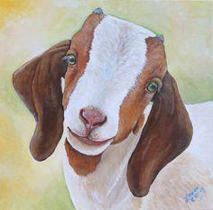 Look into my pretty goat eyes (goat painting) | Kijk eens diep in mijn mooie geitenogen! (schilderij geit) | Regarde dans mes yeux! (peinture chèvre)