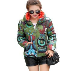 2017 new women winter coat printing casual jacket high quality warm snow lady winter parkas outward Womens Parka, Winter Coats Women, New Woman, Latest Fashion For Women, Printing, Xmas, Snow, Warm, Casual