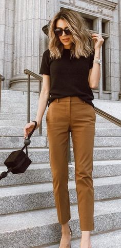 4d6358798eb8 black t-shirt and brown dress pants.  outfit  fashion  style -