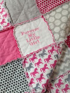 Baby Quilt Horse Quilt Forever My Little Girl Horse Baby Girls Rag Quilt, Baby Rag Quilts, Children's Quilts, Girls Quilts, Horse Fabric, Horse Quilt, Hand Applique, Applique Quilts, Nautical Baby Quilt